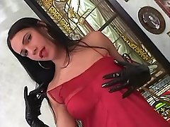 Gorgeous tranny plays with big cock