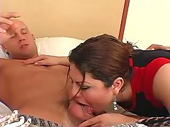 Horny tranny sucks cock n gets anal