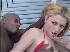 Gorgeous tranny fucking with blacky