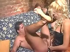 Sensual blonde tranny in crazy orgy