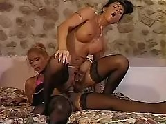 Two sensual shemales in crazy orgy