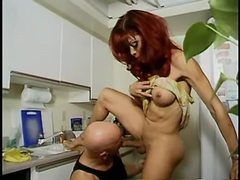 Hot tranny sucked by guy in kitchen