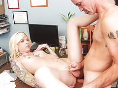 Tattooed shemale is nailed by boss to avoid getting fired.