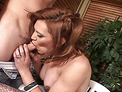 Sexy brunette shemale Brigitte gets sucked and fucks a guy