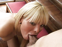 Clammy blonde transsexual dug by male until they collectively cum